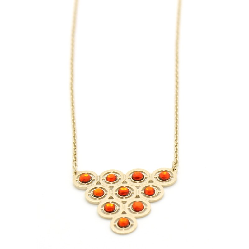 Collana Donna in Ottone placcato oro e strass orange